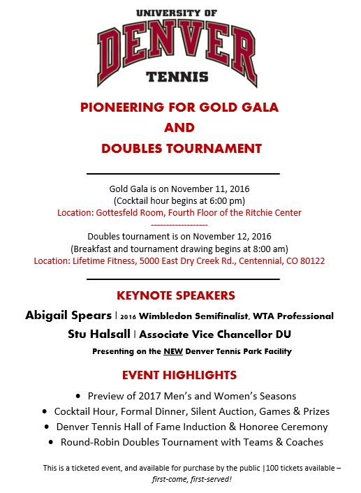 Athletics & Recreation - Pioneering for Gold Gala and